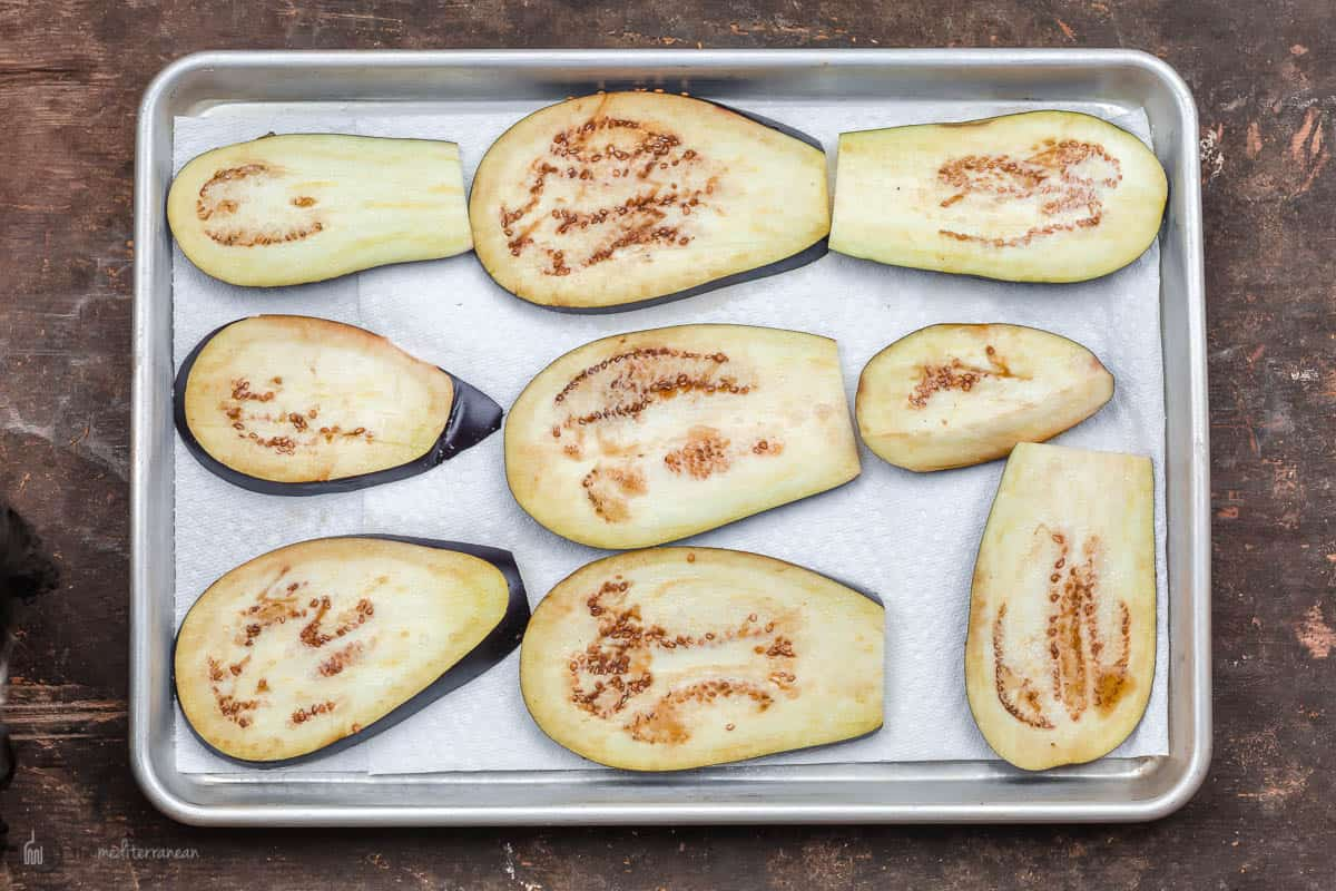 sliced and salted raw eggplant