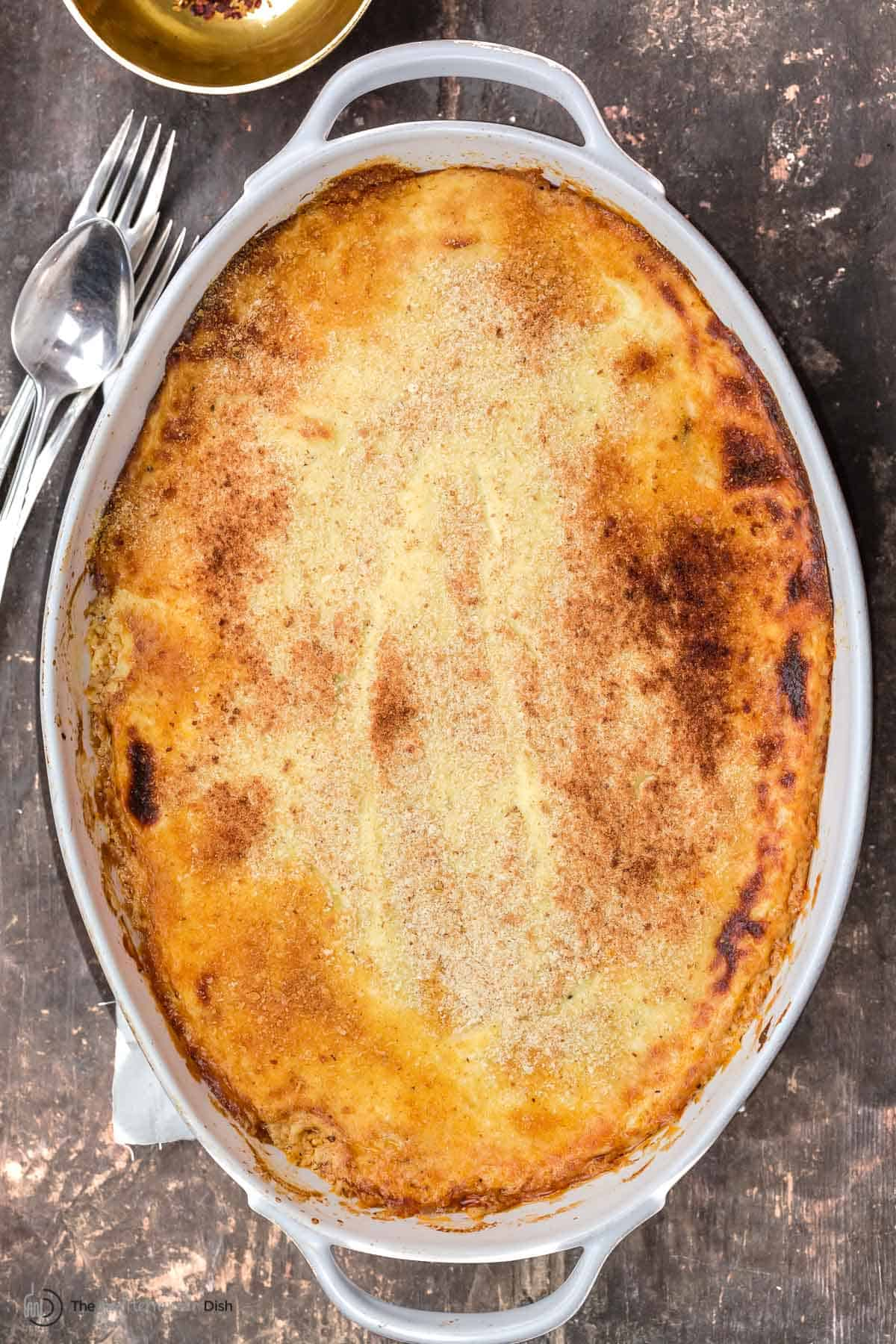 Eggplant moussaka in a casserole