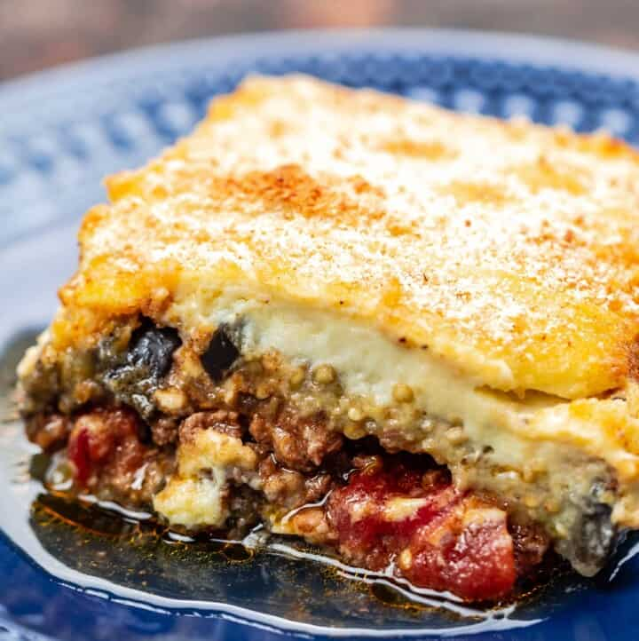 One slice of moussaka with meat sauce and bechamel topping
